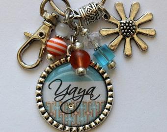 PERSONALIZED GIFT, Yaya sister teacher mom orange teal and white childrens name grandma nana mom gift present friend key chain necklace fun