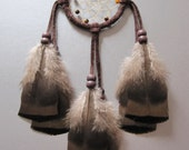 Dream Catcher Chocolate Brown Suede with Turkey Feathers