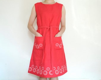 Linen red dress hand painted a line dress with pockets and belt