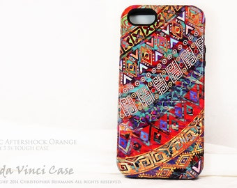Tribal Apple iPhone 5s SE Case -  tribal pattern iPhone SE Cover - Aztec Aftershock Orange Artwork for iPhone 5 5s and SE