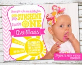 You Are My Sunshine Invitation with Photo