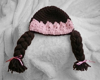 Cabbage Patch inspired Hat, braided baby wig, Brown hair, handmade crochet cabbage patch beanie