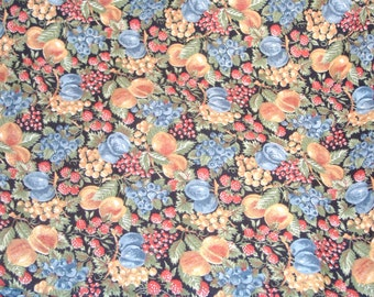 Bounty of Fruit - Peaches, Raspberries, Plums, Blueberries & More on Black Cotton-Blend Fabric - BTY - DESTASH