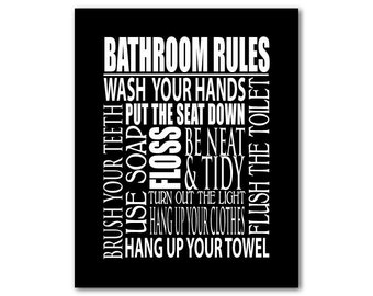 Bathroom Rules Wall Art - Typography Word Art Print - Family or Child's Bathroom Art - Room Decor - wash hands - hang up your towel floss