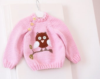 Hand Knit Baby Sweater Baby Pink Knit baby clothes with Felt Owl Applique