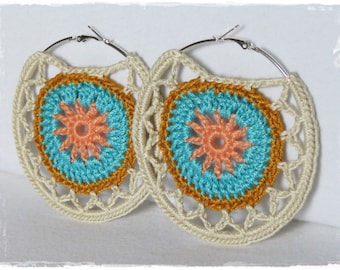 Mandala Hoop Earrings-Crochet Jewlery-Large Hoops-Hippie-Boho-Accessory