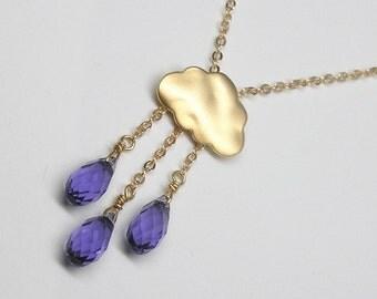 Rain Cloud Necklace in Gold/Silver-Swarovski Teardrop Crystal Necklace-Purple Rain Cloud Necklace in Gold/Silver