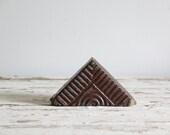 vintage decorative folk art salt glazed brick doorstop / triangle boho decor