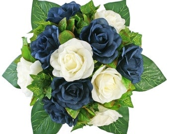 Navy Blue and Ivory Silk Rose Nosegay - Silk Bridal Wedding Bouquet