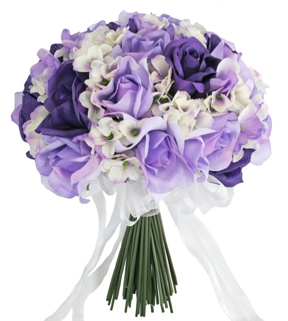 Purple Wedding Flowers: Hydrangea Rose Purple Lavender Hand Tie Large Silk Bridal