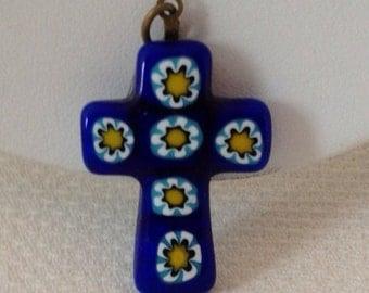 Vintage Venetian Italian Millefiori Cobalt Blue Glass Cross