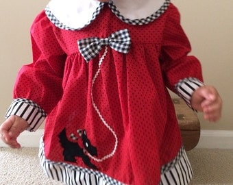 Christmas Vintage Red and Black Polka Dot Baby Girl Scottie Dress