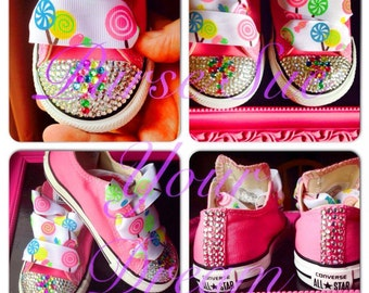 Candy Shoppe/Candyland Crystal Rhinestone Converse - Candyland birthday - Candy Shoppe - Infants/Toddler/Adults
