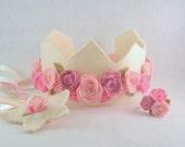 Felt Crown, Wand and Bracelet, Set of 3, Felt Flowers, Birthday Crown, Pink