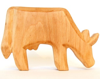 Wooden Animal, Cow, Carved Farm Animal, Waldorf Toy