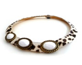 Vintage Cowhide Leather Necklace Choker - Cream White and Brown Spotted Leopard with Brass Settings