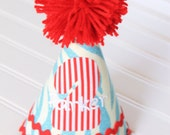 Light blue and red-Circus theme Birthday Party Hat-Personalization Included