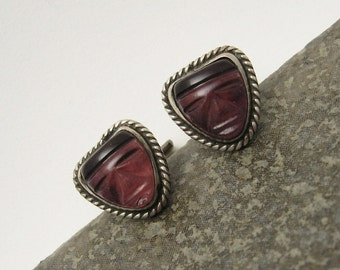Vintage Sterling Cufflinks Purple Glass Masks H543