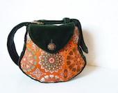 "Ethnic Boho Gypsy Hippie Brocade Bag Purse ""Sian"" Velvet Vintage Emerald Green Orange 70s Flower Power Retro Art Deco Tapestry Tribal Goa"