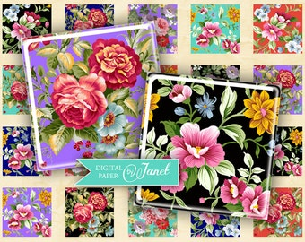 charm of flowers - squares image - digital collage sheet - 1 x 1 inch - Printable Download