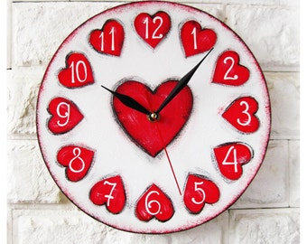 The Love Red Hearts Wall Clock, large wall clock, vintage wall clock, White wall clock, wood clock, white home decor, wedding gift.