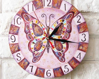 Lavender Butterfly, Modern wall clock with numbers, ood clock, white home decor, kids gift, wedding gift, for Office.