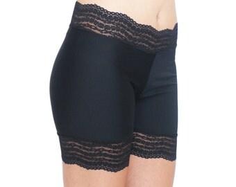 Black Biker Shorts Lace Trim