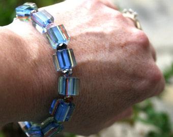 Blue Cane Beads and Crystal Rondelle Bracelet