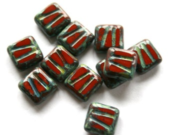 10 Red Czech Picasso Square Beads