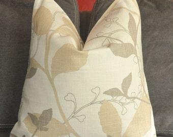 Pillow Cover, Decorative Pillow, Throw Pillow, Toss Pillow, Taupe Foliage, Gray Foliage, Tan, Beige,Home Furnishing, Home Decor, Pillow Case