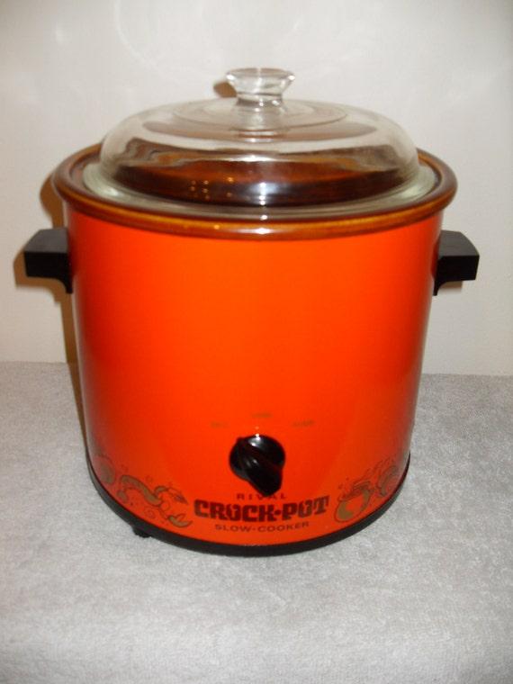 Vintage Retro Rival Orange Crock Pot Slow Cooker