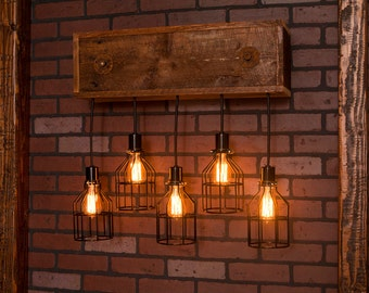Industrial lighting, Industrial Chandelier, Black With Reclaimed Wood and 5 Pendants. R-26WALL-BC-5