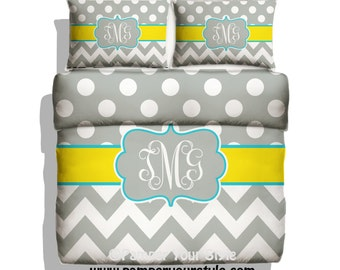 Polka dot and Chevron Duvet with Matching Sham(s) -  Personalize with Name or Monogram - Yellow and Gray Bedding - Create My Own Bedding