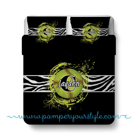 softball custom bedding zebra bed personalize with name or