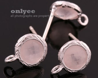 2pcs/1 pair-Rhodium plated faceted small round glass 925 sterling silver post earrings-Peach(M327S-F)