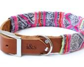 Leather Dog Collar with Vintage Textile Sleeve // Fuchsia Denim // Optional ID Tag