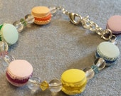 Child Kids Bracelet  French Macarons Hand Crafted in Polymer Clay with Swarovski Crystals