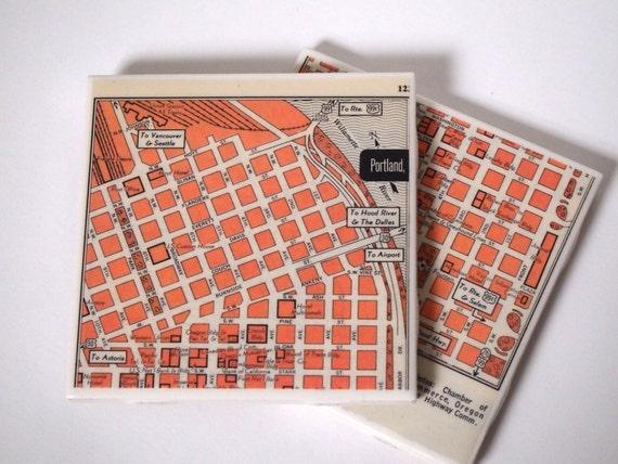 1953 Portland Oregon Map Handmade Repurposed Vintage Map