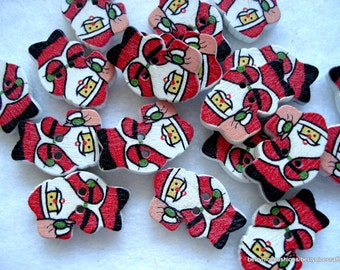 19mm Santa Shape Buttons Christmas Buttons Pack of 25 Father Christmas Buttons CR02