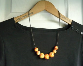 Bold Red, Orange and Yellow Beaded Wood Necklace.  Fall Color Necklace.