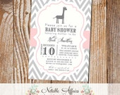 Gray and Blush Light Pink Chevron with Giraffe Modern Girl Baby Shower Invitation - birthday party, baby shower, couples shower, etc