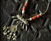 Vtg 50's 60's Ceremonial gypsy ethnic tribal Bedouin Yemen yemenite Coral / silver tone prayer box statement choker necklace