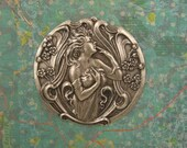 Art Nouveau Lady in a Garden Stamping, Pendant - Ox Silver Large 51mm, X1