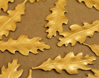 5 pc. Medium Raw Brass Oak Leaves: 40mm by 15mm - made in USA | RB-230