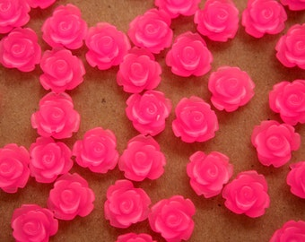 30 pc. Frosted Neon Pink Rose Cabochon 10mm   RES-386