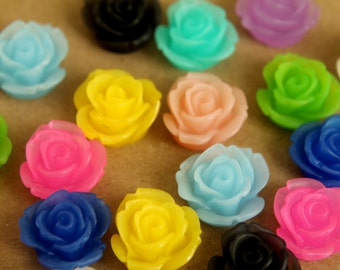 CLOSEOUT - 20 pc. Multi Colored Frosted Rose Cabochons 18mm | RES-392