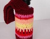 Water Bottle Holder/Cozy Sturdy, Insulating Colorful Stripes Crocheted Handmade Secret Santa Gift