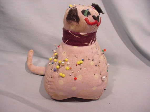 Sweet Little Pin Cushion Smiling Kitten Cat Hand Made Filled with Pins