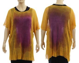 Oversized knitted linen sweater in yellow purple, hand dyed summer linen sweater, lagenlook linen sweater plus size women L-XL US size 16-20