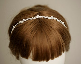 MANON - Dainty crystal headband, wedding headband, bridal hair accessory, rhinestone headband, headpiece,wedding hair piece